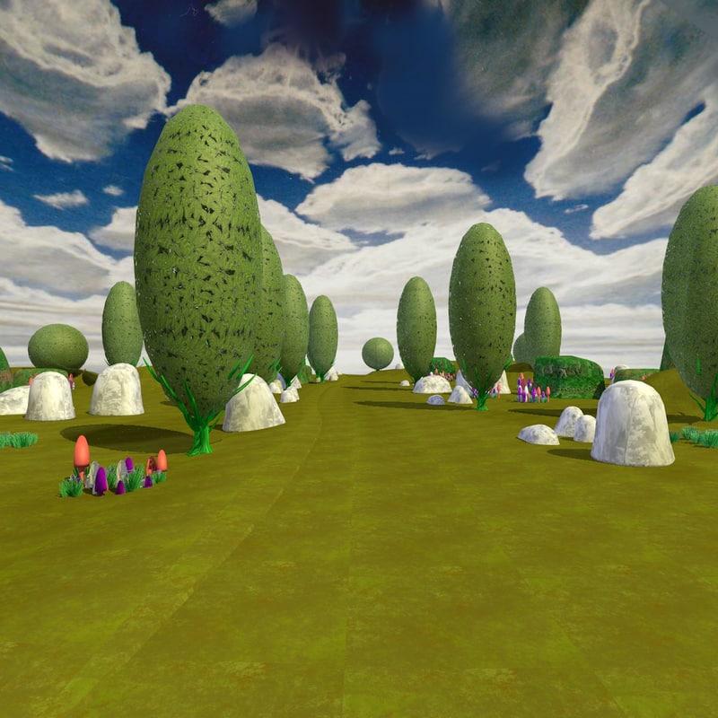 3d cartoon landscape trees model