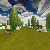 3d cartoon landscape trees model