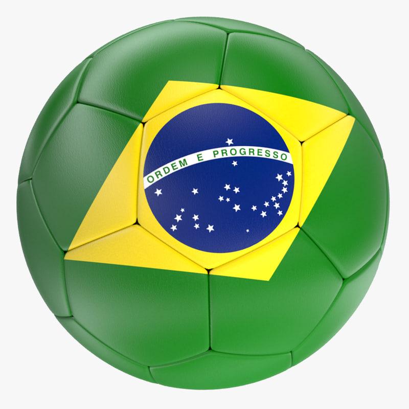 3d brazil soccer ball flag
