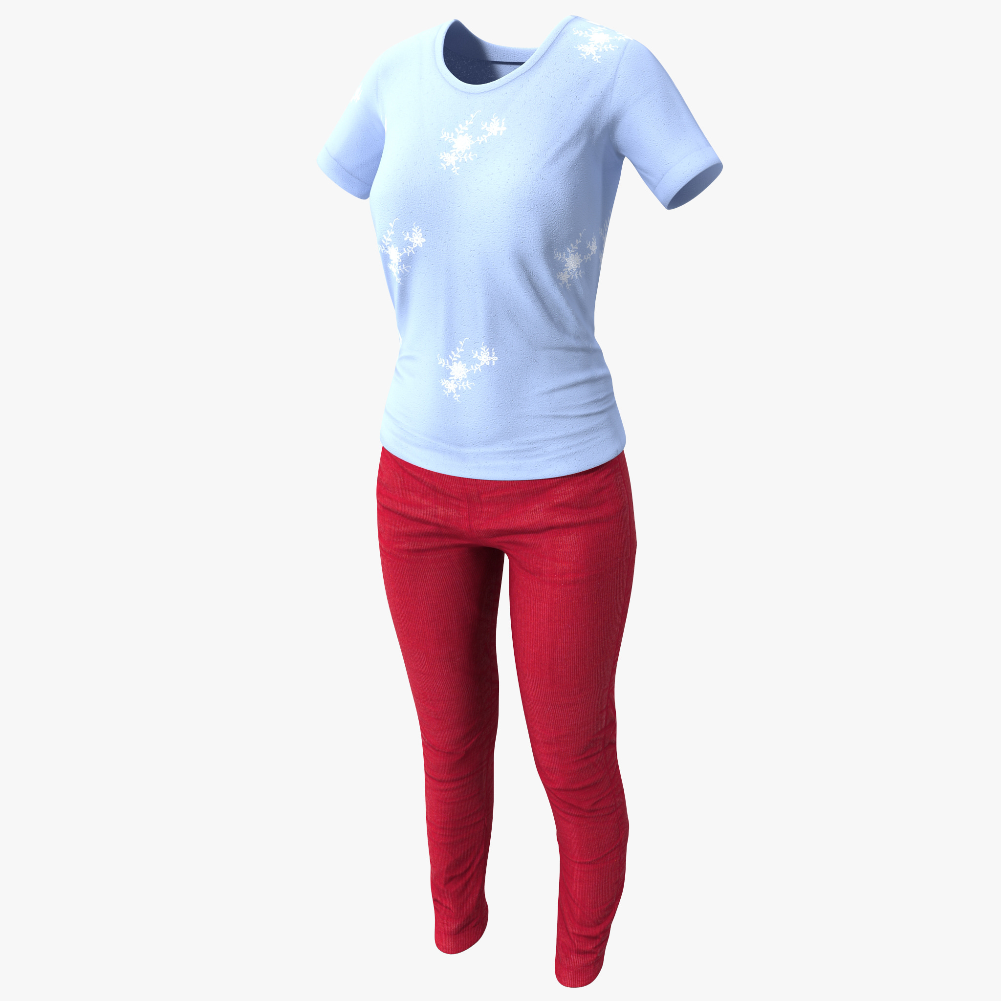 3d female casual clothes 3 model