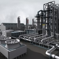 3d max industrial refinery construction