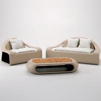 3d model rattan ibiza set