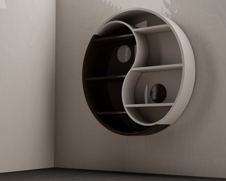 books yin yang 3d c4d