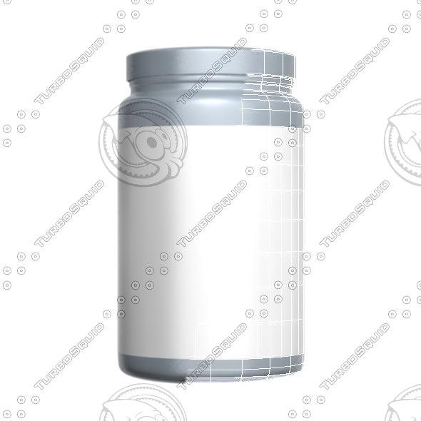 3d model gray protein bottle