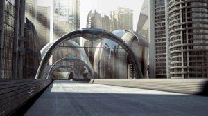 futuristic modern street road 3d model