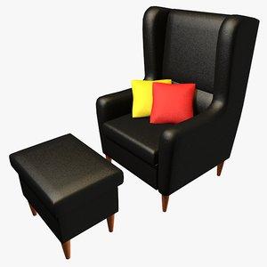 3d model armchair tabouret pillows