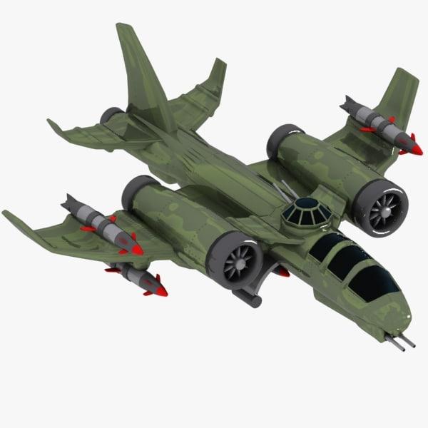 cartoon fighter aircraft 3d model