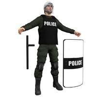 riot police officer 3d model