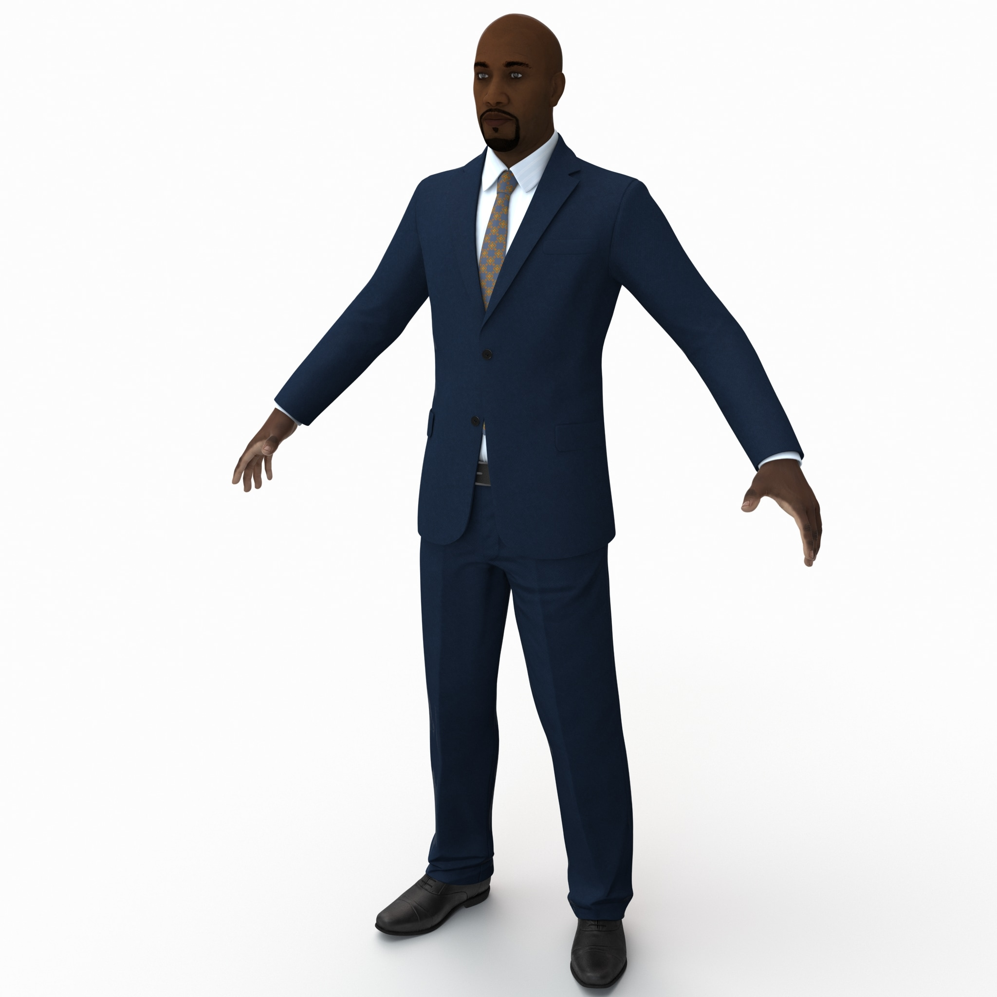 black male businessman rigged 3d max