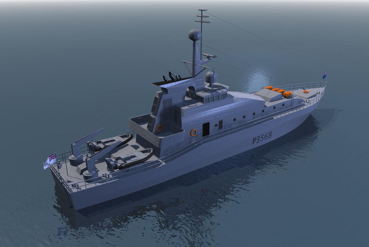 3d c4d offshore patrol boat hmnzs