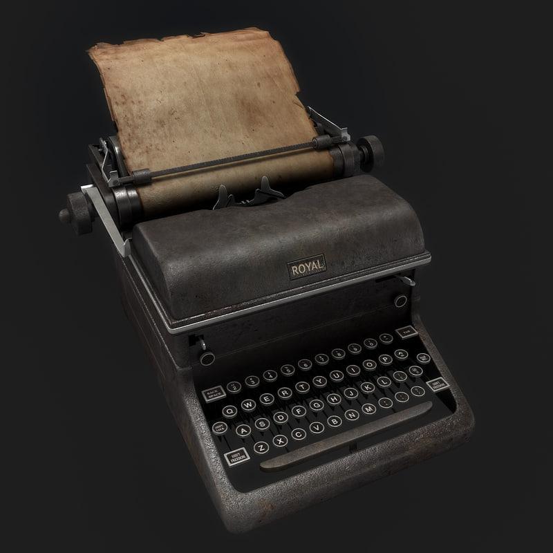 typewriter writer type 3d model