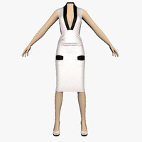 3d model dress silver female mannequin