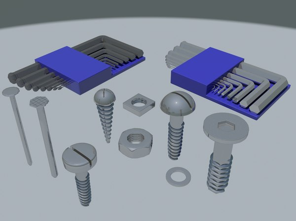 3d model of bolts allen key