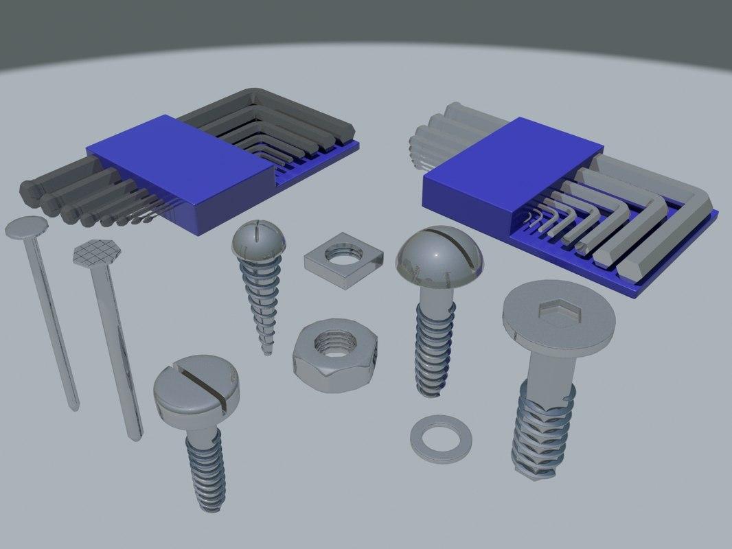 3d model of bolts allen key
