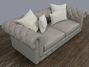 leather chesterfield sofa 3d model