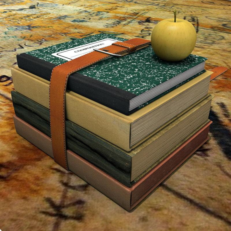 3d old books belt model