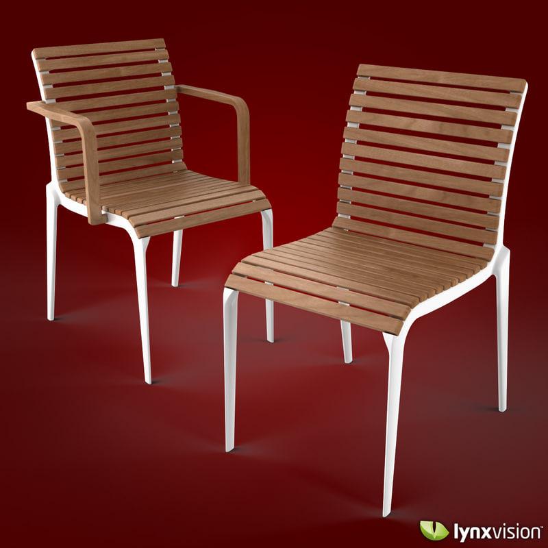 3d chair armchair teak alberto meda model