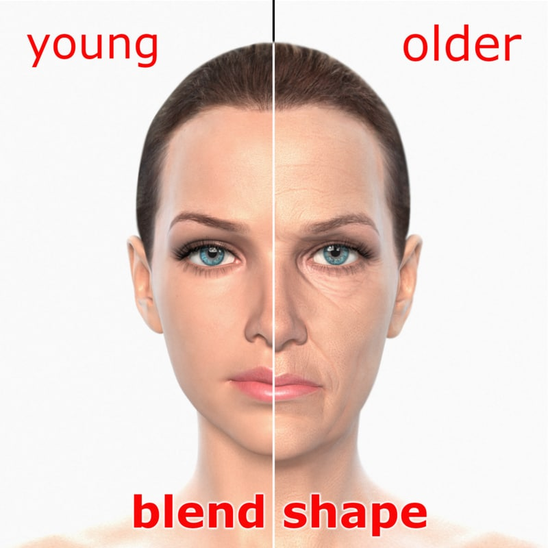3d blending young older realistic female
