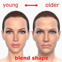 blending young older realistic female obj