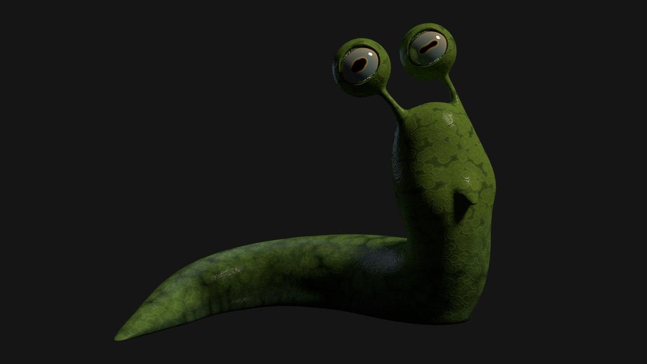 3d snail cartoonish model