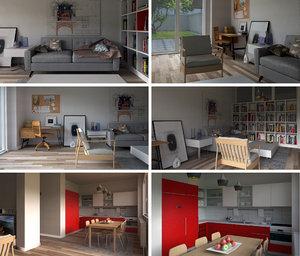 home interior 01 3d model