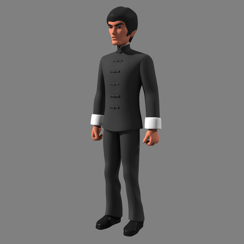 cartoon bruce lee uniform 3d lwo