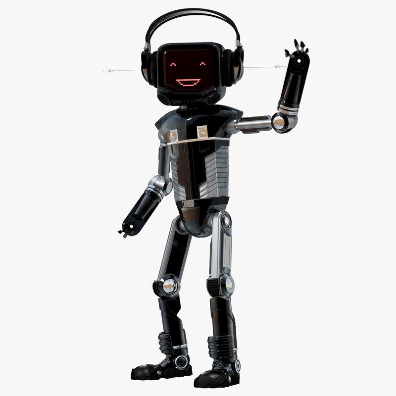 3d robot character led machine model
