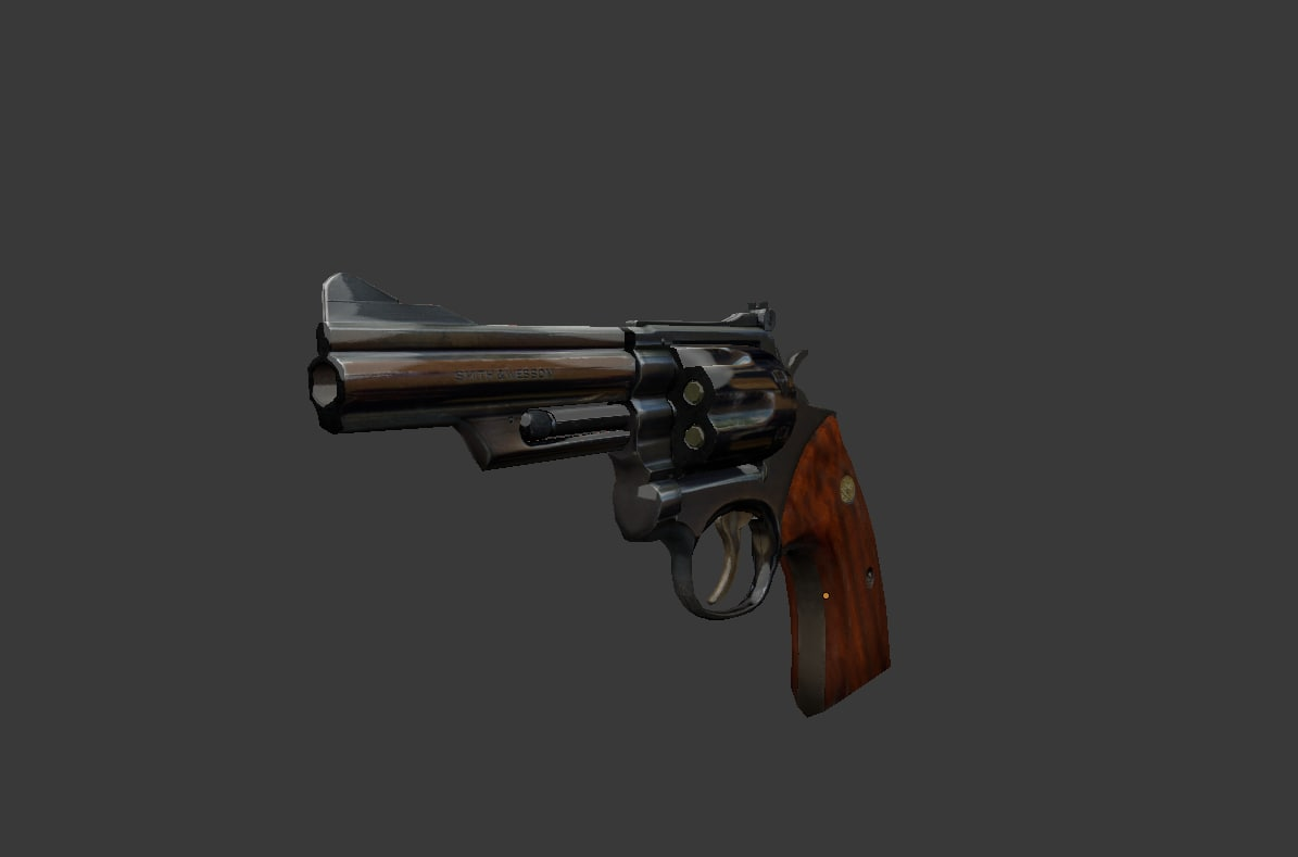 revolver shooting animation 3d model