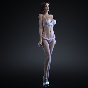 3d girl rigging female body
