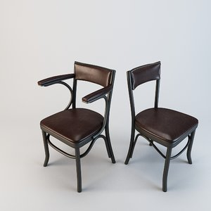 chair antiqued leather 3d model