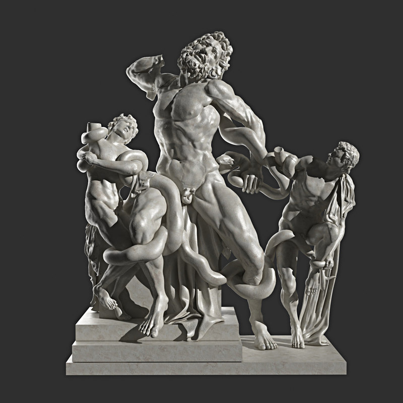 3ds max statue laocoon sons