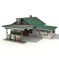 grocery building gas station 3d 3ds