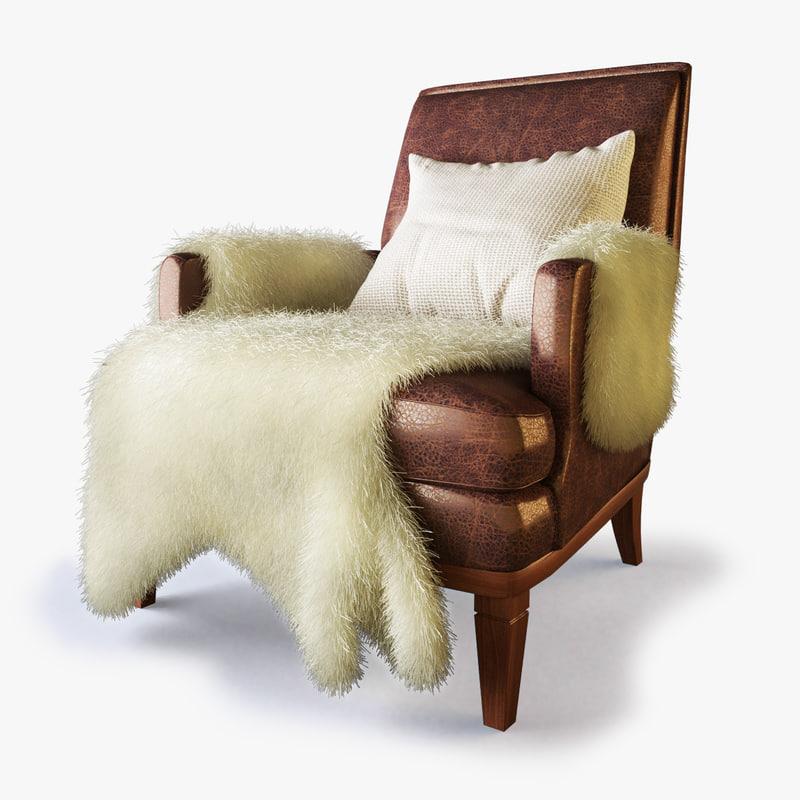 max designer lounge fur chair