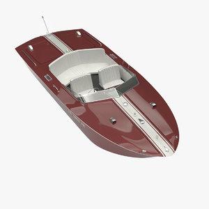 3d model classic motorboat