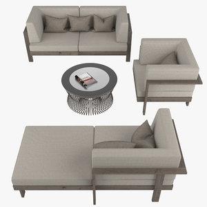 garden furniture set 3d model