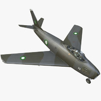 Lowpoly F-86 Sabre Jet Fighter with Pilot