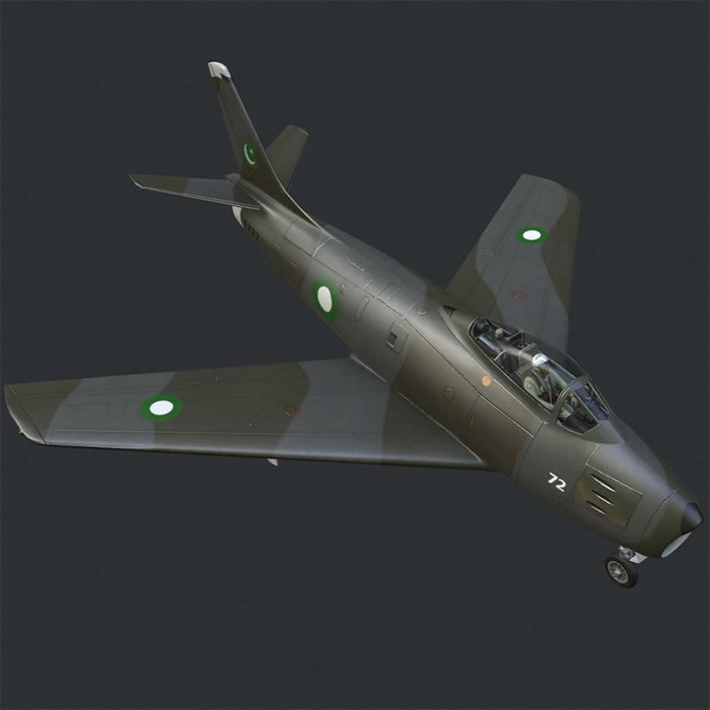 american f-86 sabre jet fighter 3d c4d