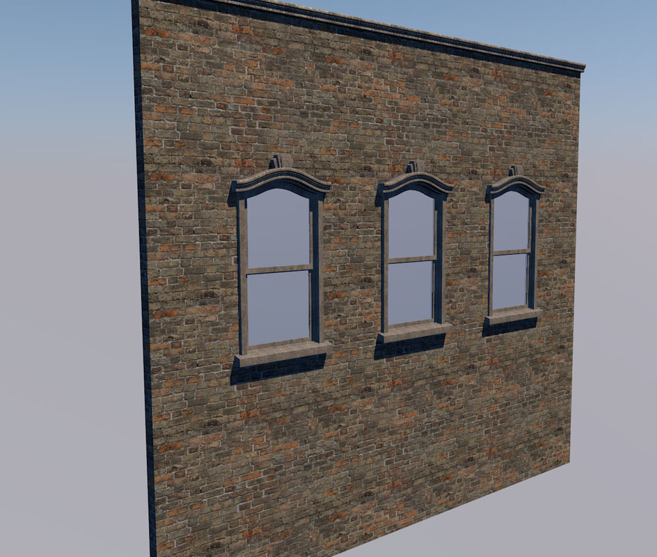 3d window brick wall sash model