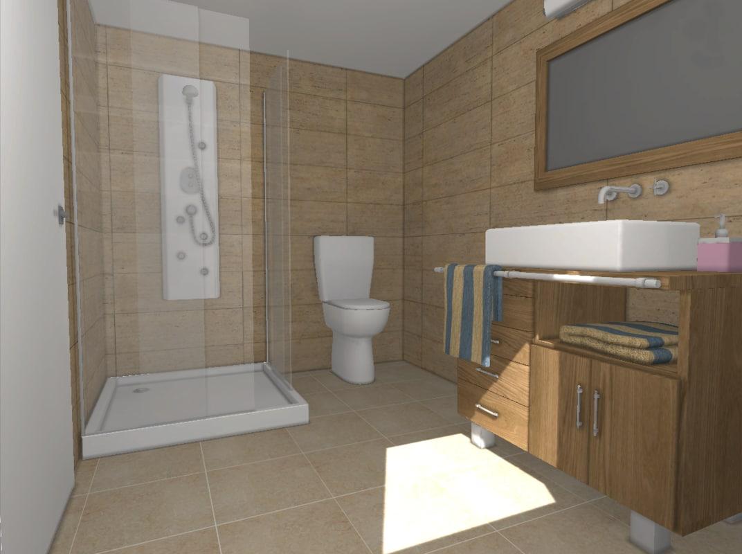 bathroom polys shower 3d max