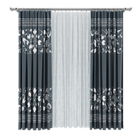 white curtains 3d model