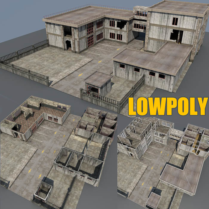 weathered factory building scenes 3d model