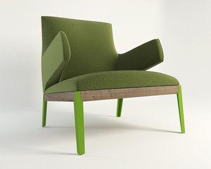 3d model hug armchair chair