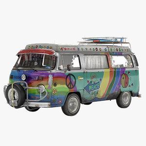 volkswagen t2 hippie van 3d model