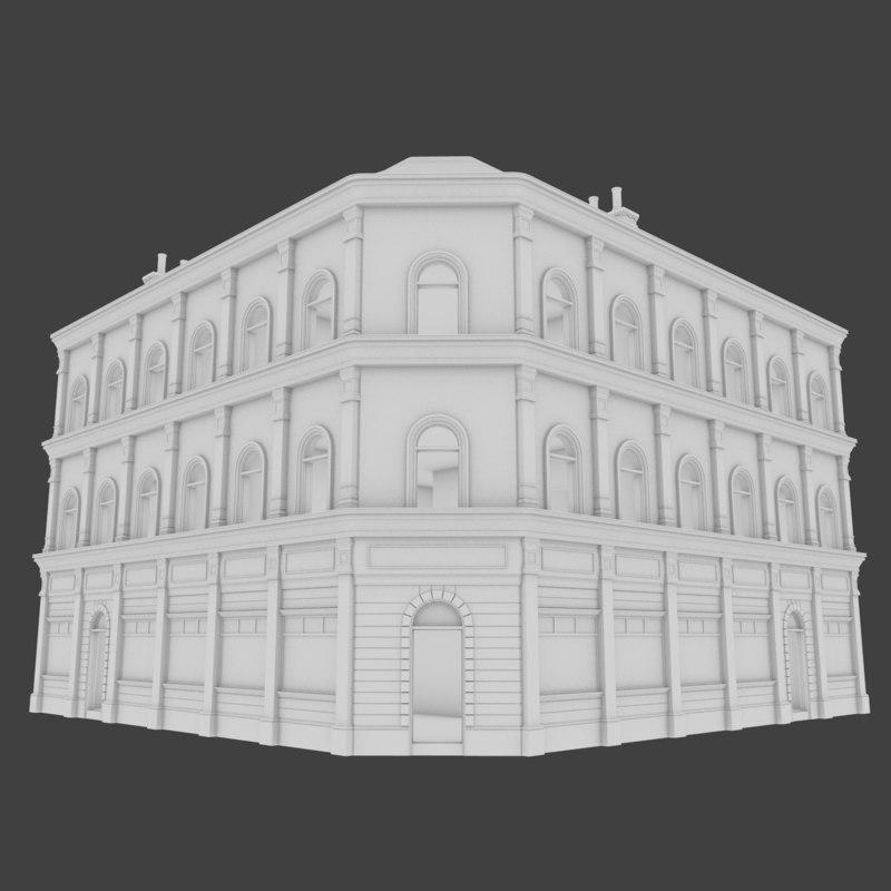 european building interior obj