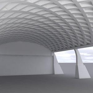 3d model hangar 3 white
