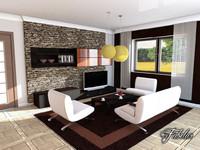 living room c4d