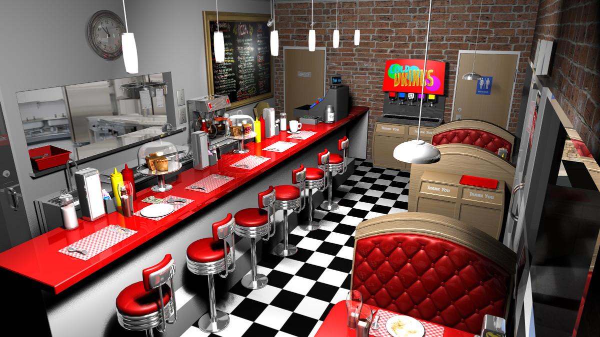 3d stylized cartoon diner model