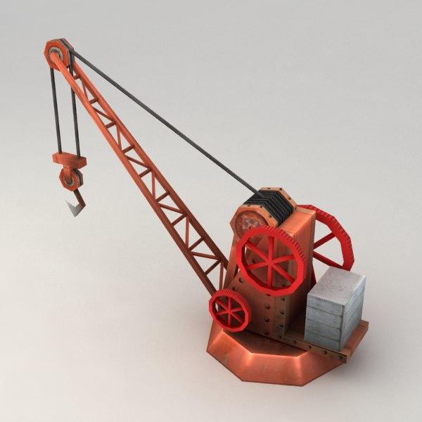 steam harbor crane 3d model