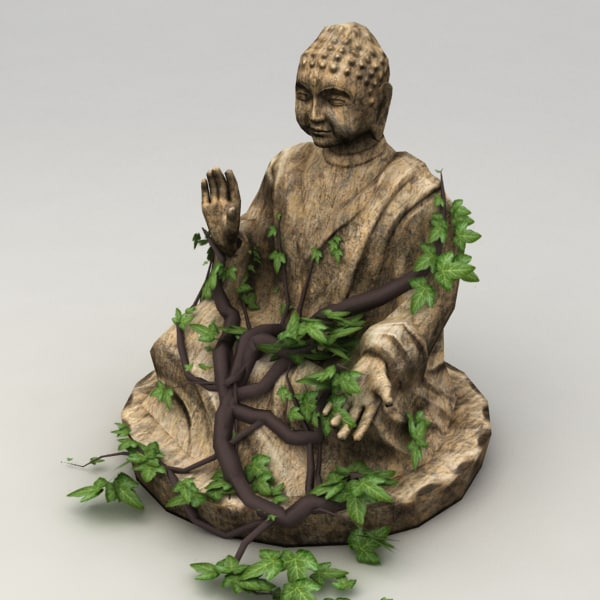 3d 3ds stone buddha statue