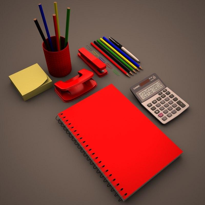 3d model office supplies